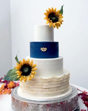 sunflower, blue, ruffles, cake, mice, westside ballroom, ADK, upstate, the fancy cake box