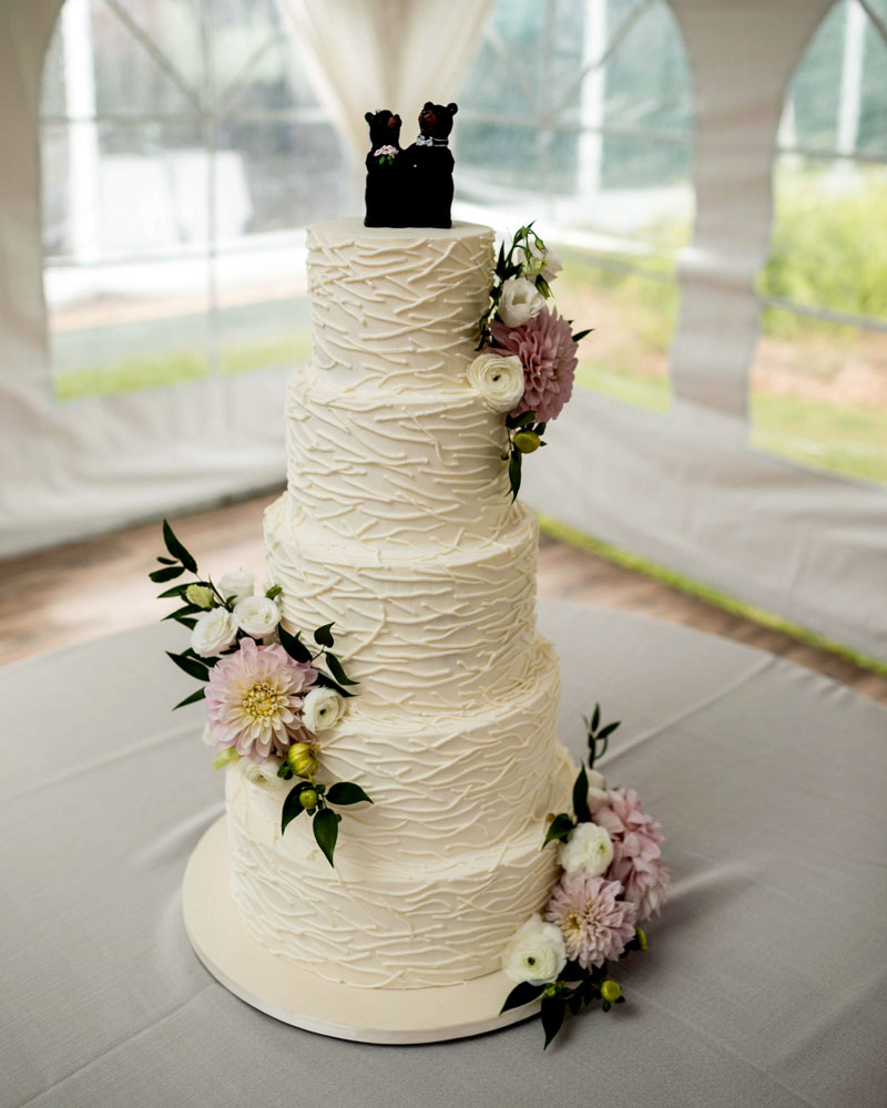 5 tiers, wedding, cake, flowers, bears, cake topper, twig, st. Huberts, ADK, NY, the fancy cake box