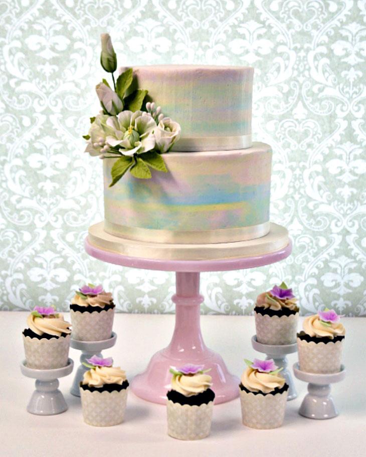pastel, cake, cupcakes, lisianthis, leaves, cake art, ADK, wedding, lake placid, NY, the fancy cake box