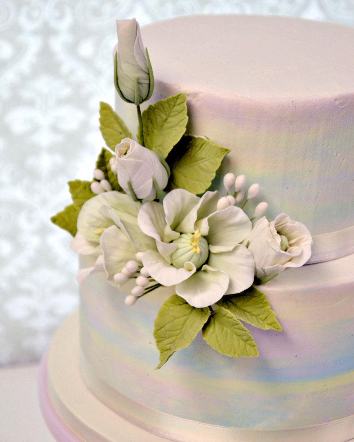 pastel, cake, lisianthis, leaves, cake art, ADK, wedding, lake placid, NY, the fancy cake box