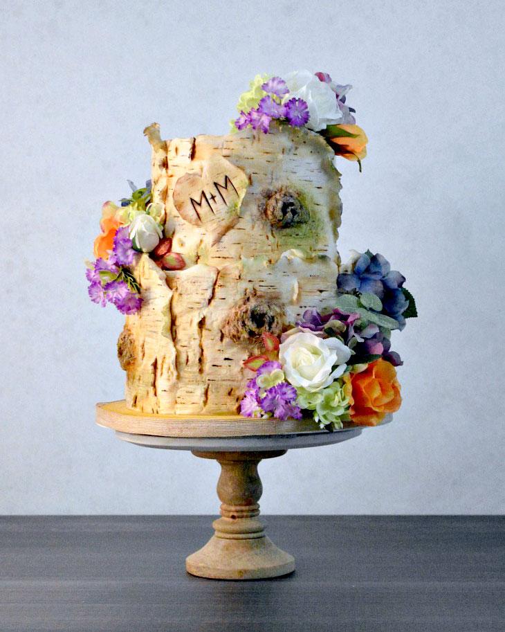 silk, flowers, birchbark, cake, heart, lake placid, ADK, rustic, chairs, wedding, the fancy cake box