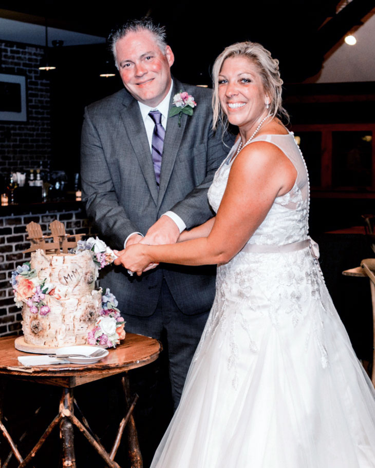 silk, flowers, birchbark, cake, slice, lake placid, ADK, rustic, chairs, NY, wedding, the fancy cake box
