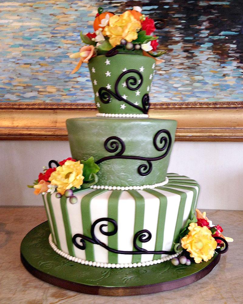 whimsical, gum paste flowers, stars, striipes, green, cake, lake placid, NY, ADK, the fancy cake box