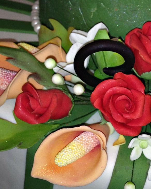 whimsical, gum paste flowers, green, cake, lake placid, NY, ADK, the fancy cake box