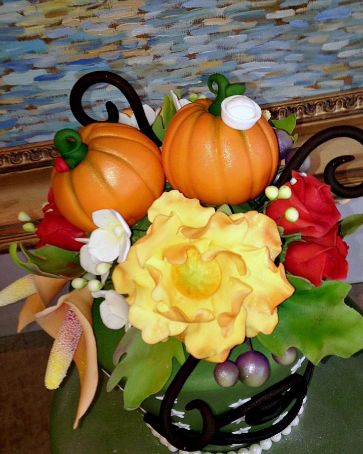 whimsical, gum paste, cake topper, flowers, pumpkins, green, cake, lake placid, NY, ADK, the fancy cake box