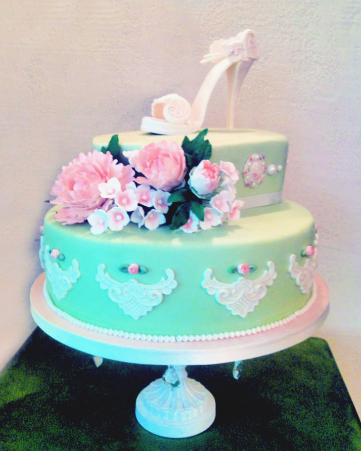 bridal shower, gum paste flowers, high heel, green, engagement, lake placid, NY, wedding, the fancy cake box
