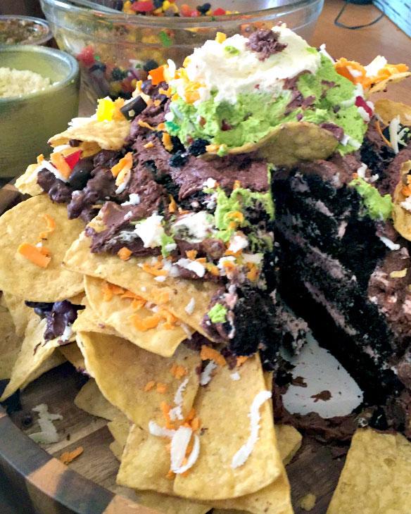 nachos, cake, chocolate, chips, buttercreeam, gummies, 3d, superbowl, the fancy cake box,