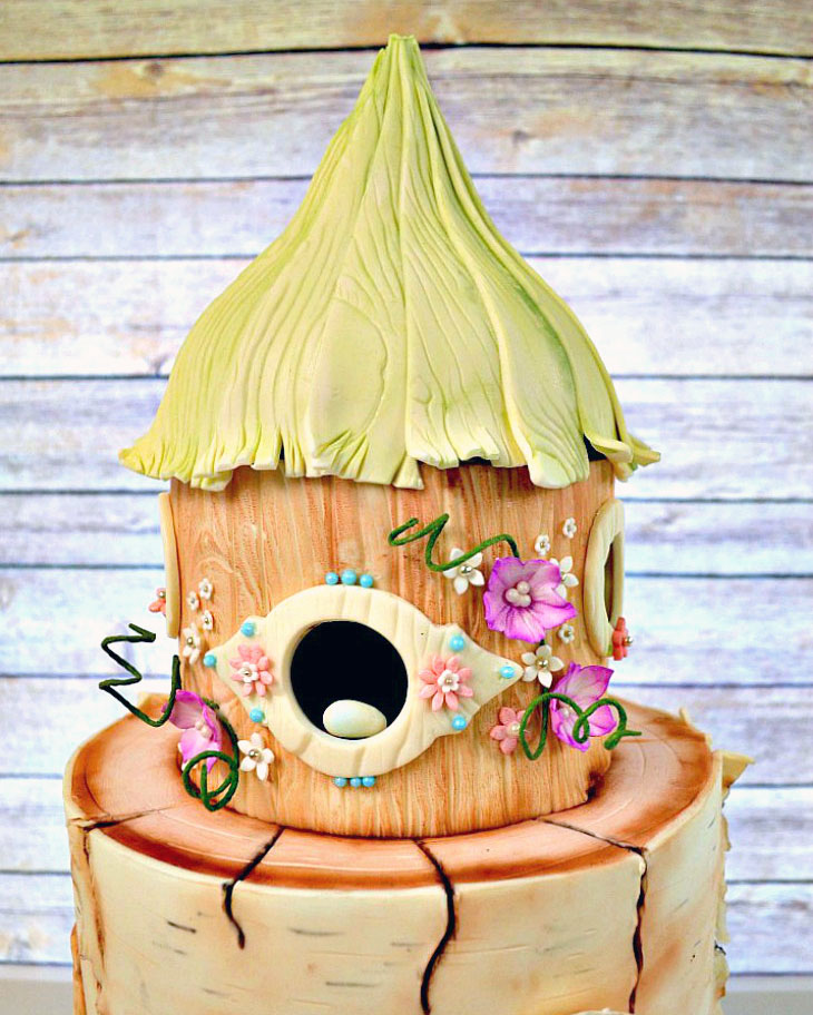 fondant, birch bark, heart, birds, cake, wedding, lake placid, ADK, upstate, love, the fancy cake box
