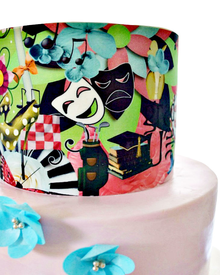 collage, cake, pink, blue flowers, wafer paper, drama, ADK, Lake placid, NY, graduation, the fancy cake box