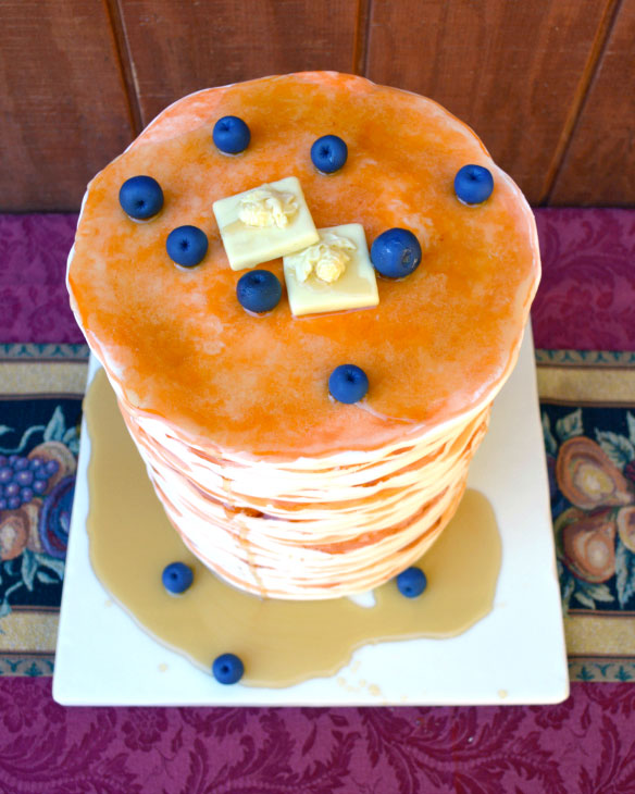 pancake, fondant, cake art, blueberries, cake, maple syrup, butter, the fancy cake box