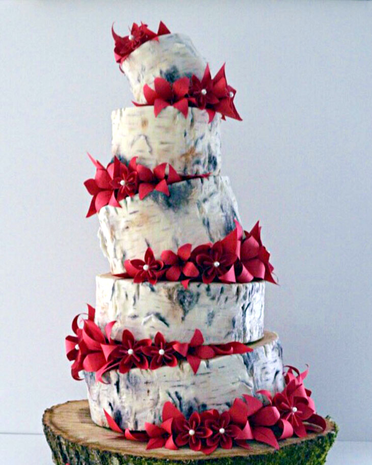 origami, flowers, red, birch bark, wedding, cake, slice the cake, ADK, Whimsical, lake placid, the fancy cake box