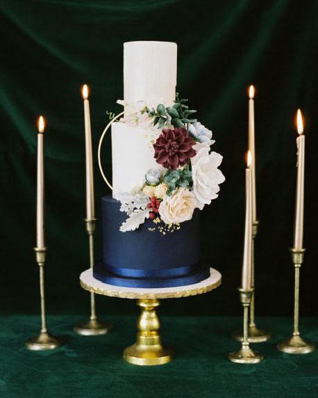 adirondack, wedding, bespoke, cake, blue wedding cake, boho, gum paste flowers, designer, elegant wedding cake, the fancy cake box