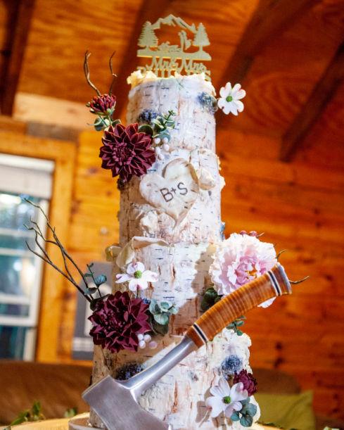adirondack, bespoke, birch bark, boho, gum paste flowers, designer, elegant, wedding, cake, the fancy cake box