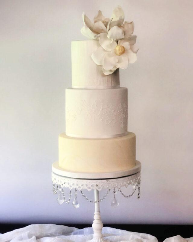 magnolia, cake, flower, white, satin, wedding, lake placid, NY, Adirondack, ADK, the fancy cake box